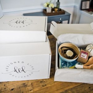 Home Decor Delivery Boxes on Dining Table