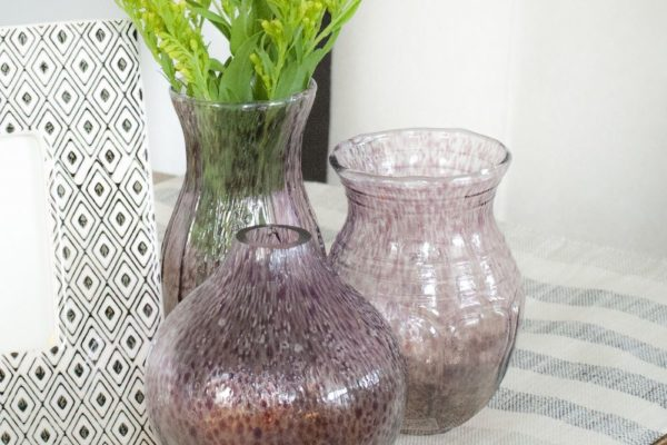 mini purple vases
