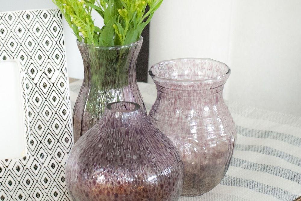 mini purple vases