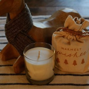 Fir scented candle with holiday bag