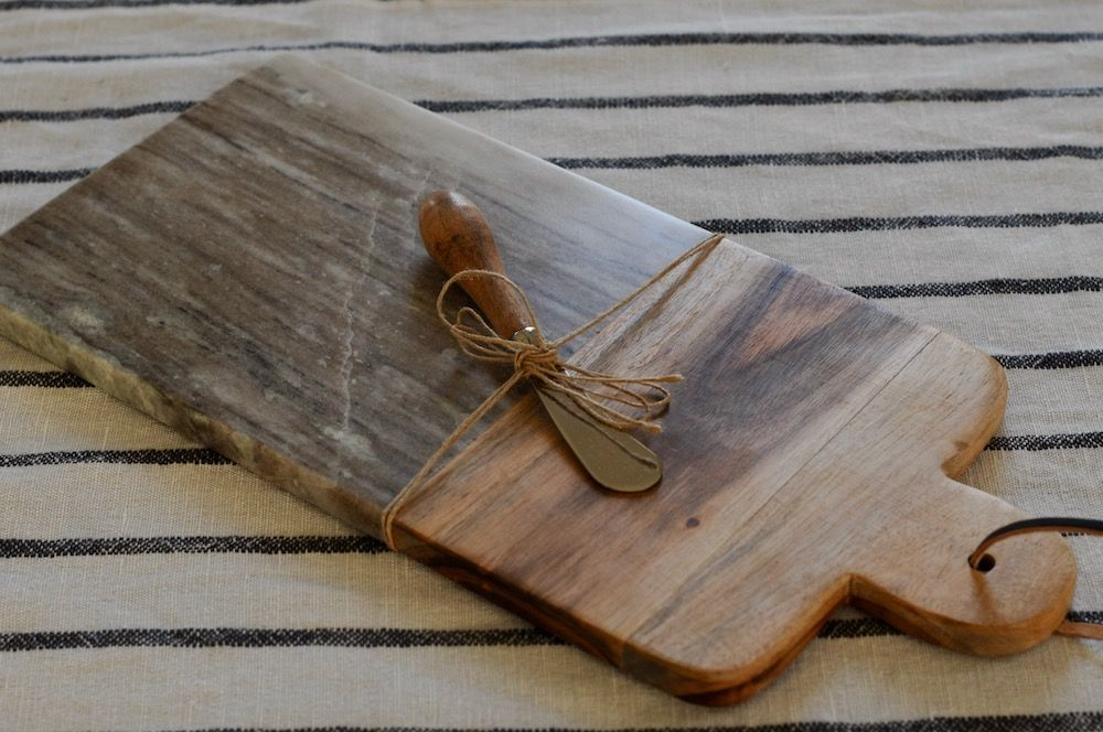 Marble cutting board with cheese knife