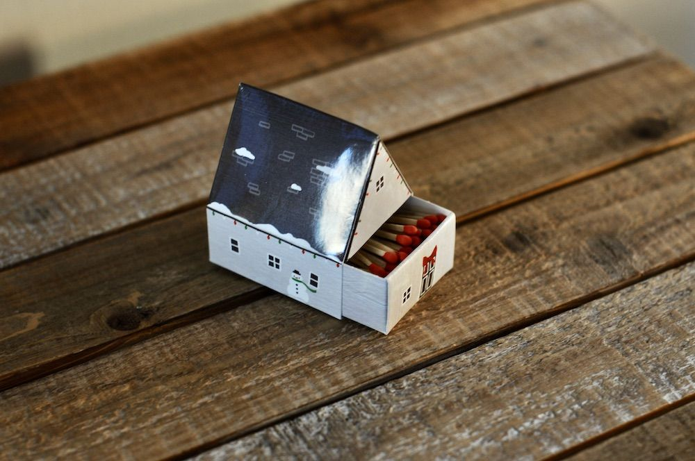 Cute house shaped matches with holiday design