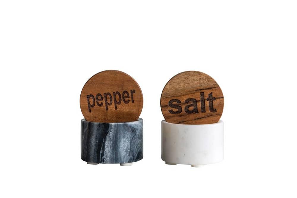 marble salt and pepper pots