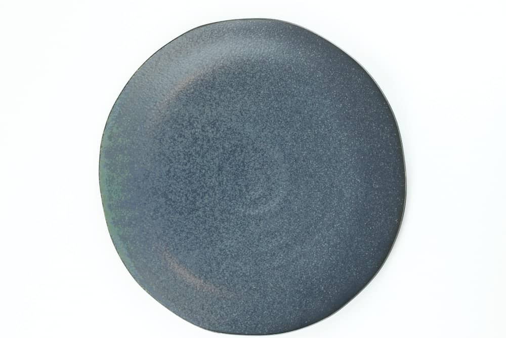 dark gray glazed serving plate